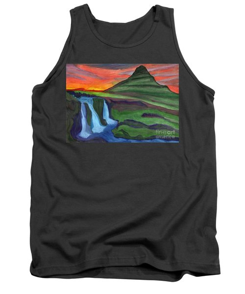 Mountain And Waterfall In The Rays Of The Setting Sun Tank Top