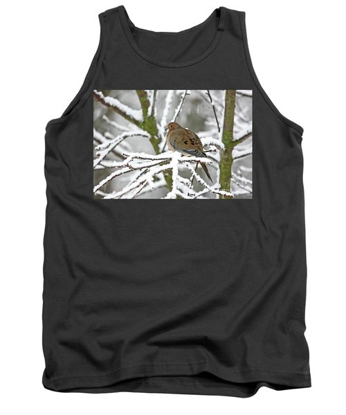 Mourning Dove In Snowstorm Tank Top