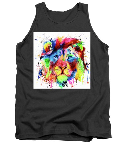 Neon Lion - Colourful Ink Spatter Painting Tank Top