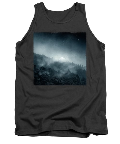 Night Shadows - Misty Forest At Night Tank Top