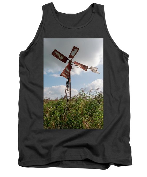 Tank Top featuring the photograph Old Rusty Windmill. by Anjo Ten Kate