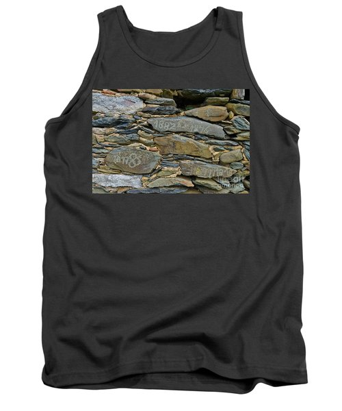 Old Schist Wall With Several Dates From 19th Century. Portugal Tank Top