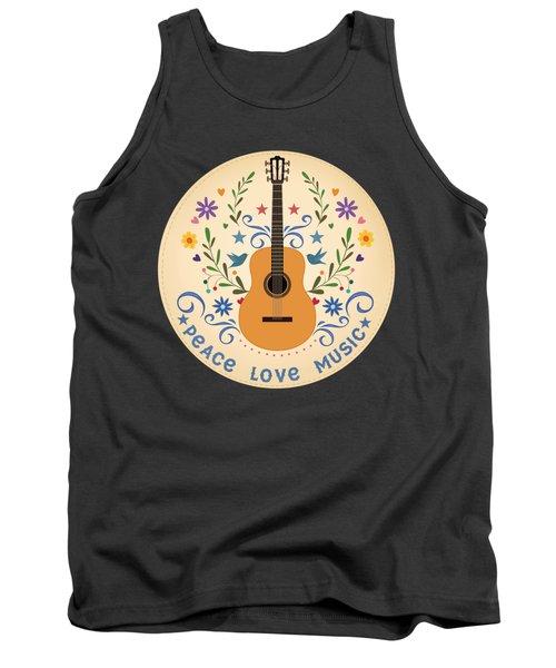 Peace Love And Music Folk Guitar Badge Tank Top