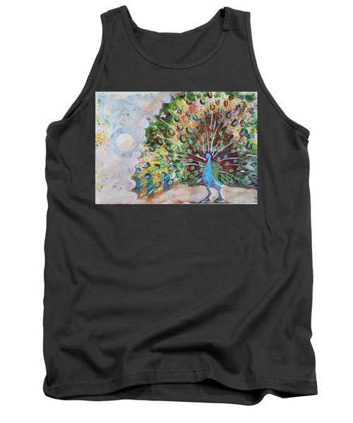 Peacock In Morning Mist Tank Top