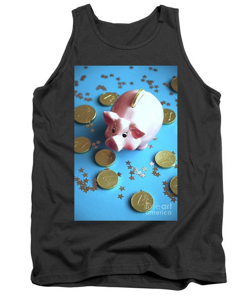 Piggy Bank On The Background With The  Chocoladen Coins Tank Top