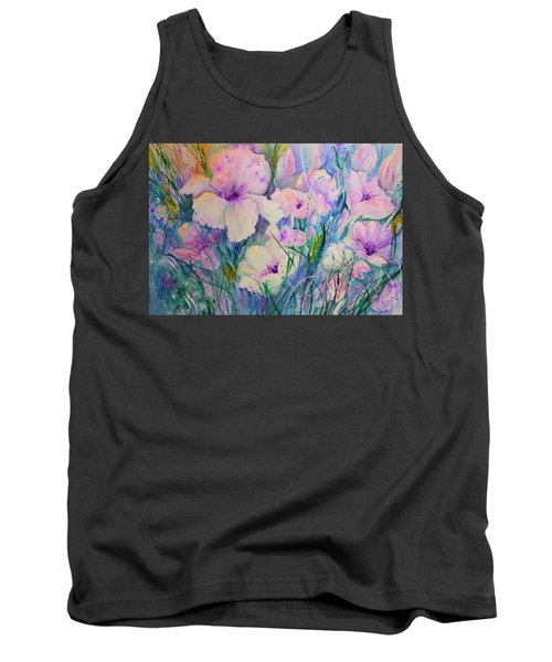 Spring Flower Medley Pink And Purple Tank Top