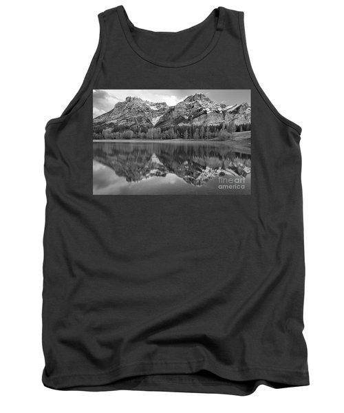 Pink And Red Kananaskis Reflections Black And White Tank Top