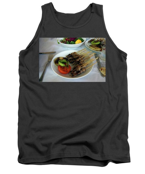 Plate Of Kebabs And Salad For Lunch Tank Top