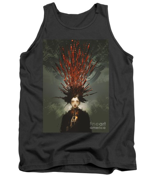 Tank Top featuring the painting Prey With A Gun by Tithi Luadthong