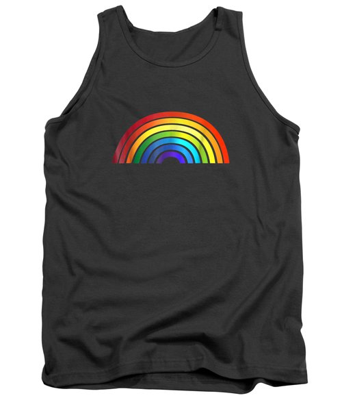 Rainbow T-shirt Simple Style Basic Glossy Stripe Design Tank Top