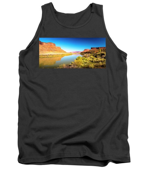Tank Top featuring the photograph Red Cliffs Canyon Panoramic by David Morefield