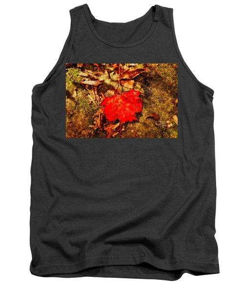 Red Leaf On Mossy Rock Tank Top