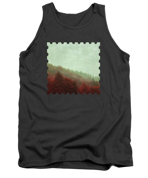 Retro Red Forest In Fog Tank Top
