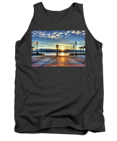 Revere Beach Clock At Sunrise Angled Long Shadow Revere Ma Tank Top