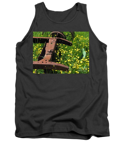 Rusted Wagon In A Field Of Flowers Tank Top