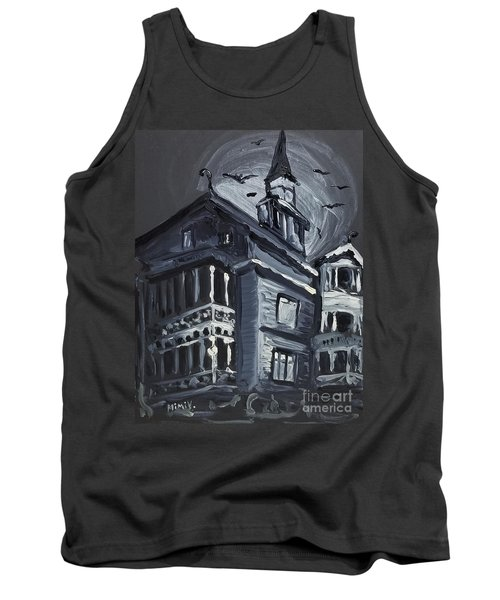 Tank Top featuring the painting Scary Old House by Maria Langgle