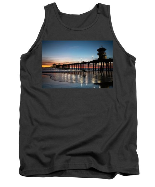 Silhouette Of Surfer At Huntington Tank Top