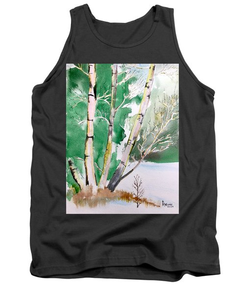 Silver Birch In Snow Tank Top