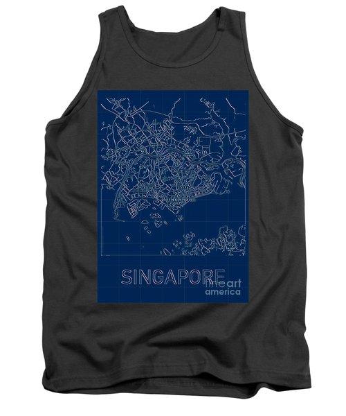 Singapore Blueprint City Map Tank Top