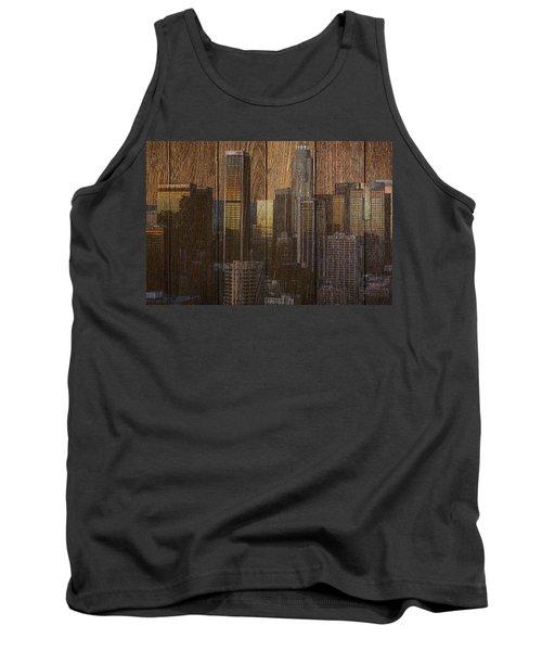 Skyline Of Los Angeles, Usa On Wood Tank Top