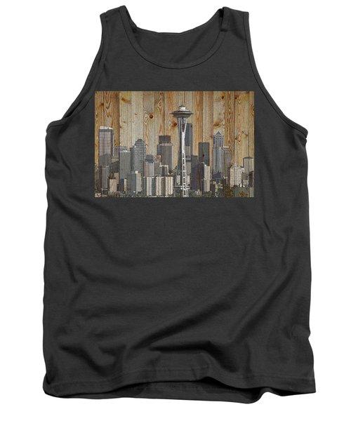 Skyline Of Seattle, Usa On Wood Tank Top