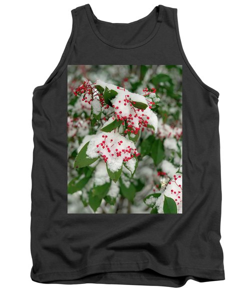 Snow Covered Winter Berries Tank Top