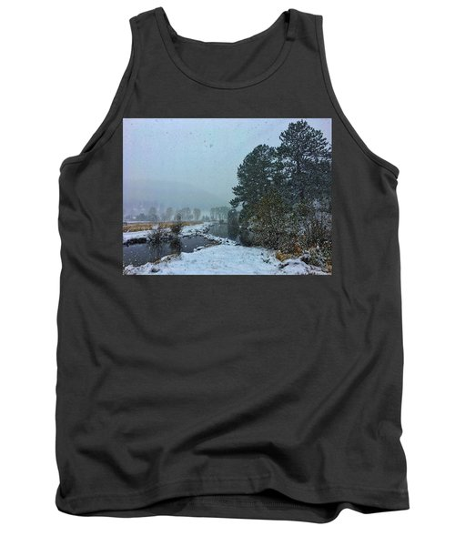 Tank Top featuring the photograph Snowstorm At The Lake by Dan Miller