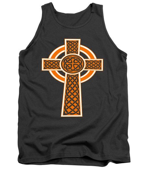 St Patrick's Day Celtic Cross Orange And White Tank Top