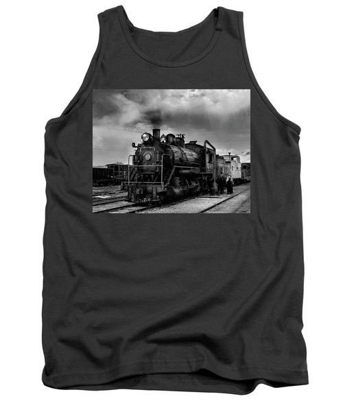 Steam Locomotive In Black And White 1 Tank Top
