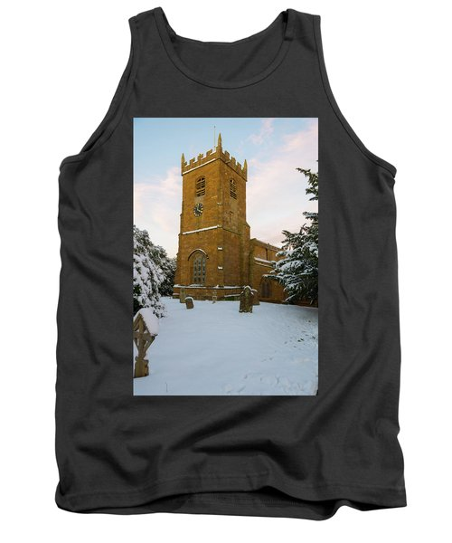 Stone Church In The Snow At Sunset Tank Top