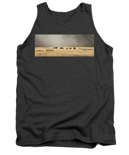 Stormy Skies Over The Masai Mara With Elephants And Zebras Tank Top