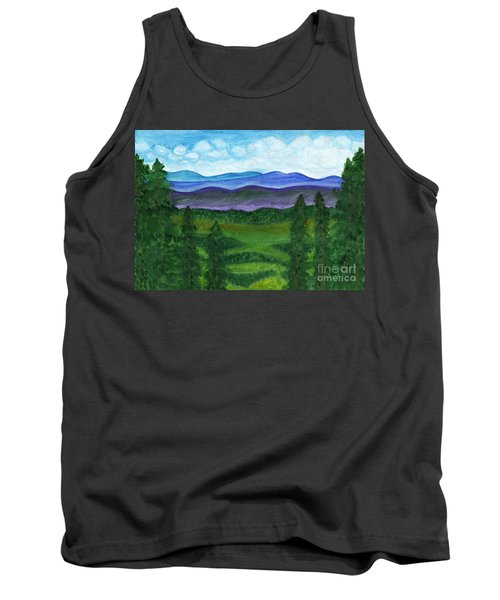 View From A Mountain Slope To Distant Mountains And Forests Tank Top