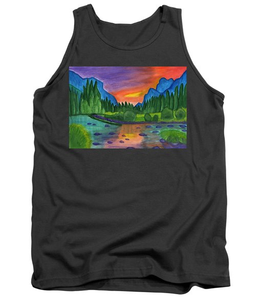 Mountain River In The Background Of The Forest And The Blue Mountains At Sunset Tank Top