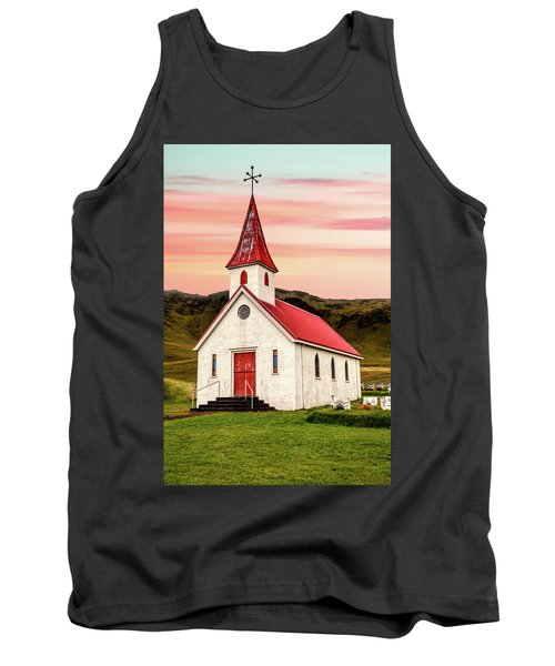Sunset Chapel Of Iceland Tank Top