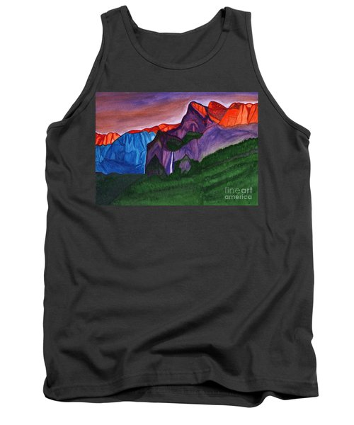 Snowy Peaks Of The Mountains With A Waterfall Lit Up By The Orange Dawn Tank Top