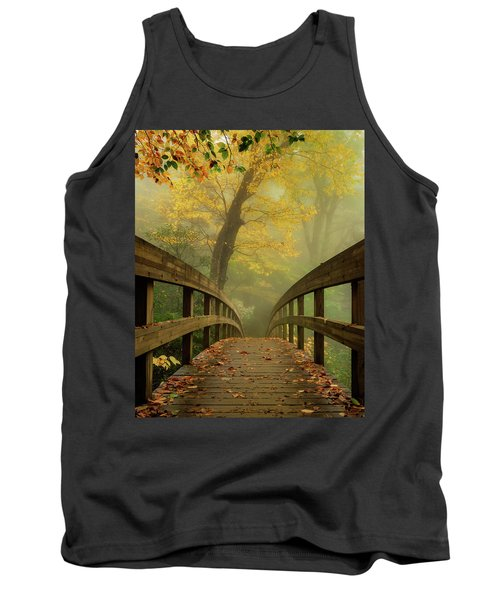 Tanawha Trail Blue Ridge Parkway - Foggy Autumn Tank Top