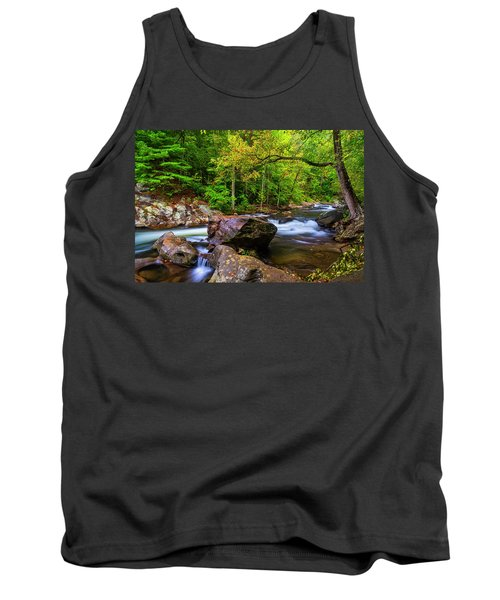 Tank Top featuring the photograph Tellico River Serenity by Andy Crawford