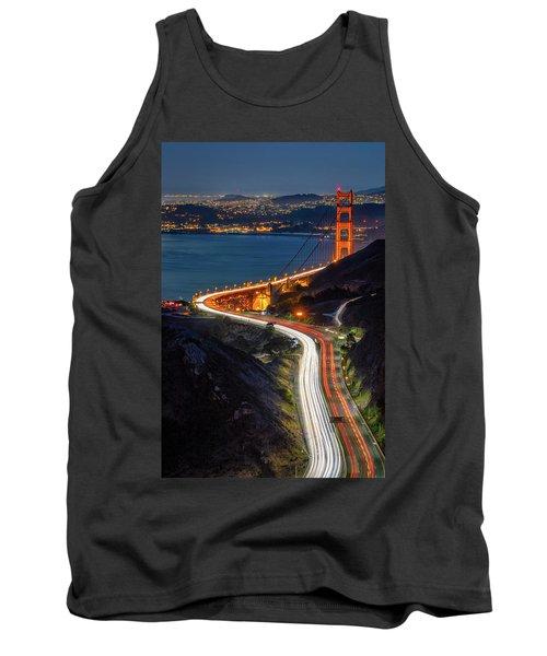 Traffic Racing Over The Golden Gate Bridge Tank Top