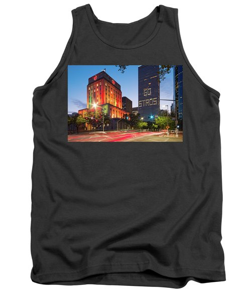 Twilight Photograph Of Houston City Hall Astros Baseball World Series 2017 - Downtown Houston Tank Top
