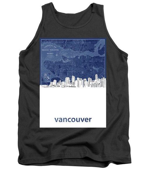 Vancouver Skyline Map Blue Tank Top