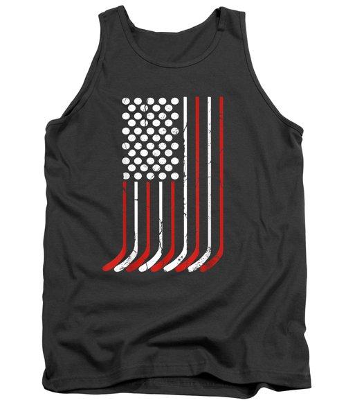 Vintage American Flag Hockey Apparel 4th July Men Boys Usa T-shirt Tank Top