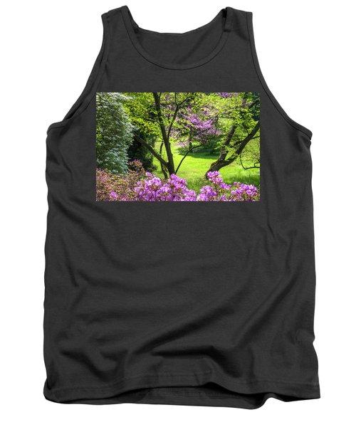 Walk In Spring Eden. Magenta And Greens Tank Top