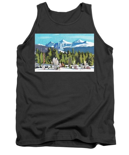 Tank Top featuring the drawing Western Slope Winter by Dan Miller