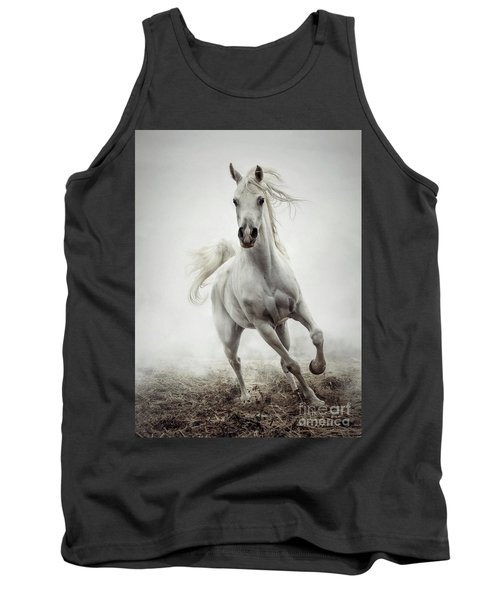 Tank Top featuring the photograph White Horse Running In Winter Mist by Dimitar Hristov