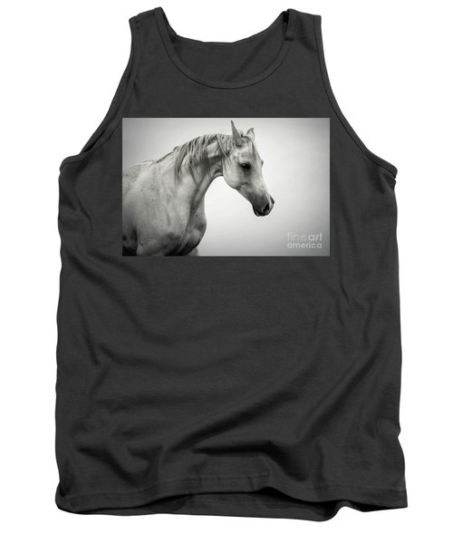 Tank Top featuring the photograph White Horse Winter Mist Portrait by Dimitar Hristov