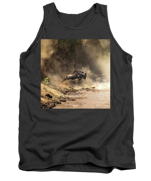 Wildebeest Leaps From The Bank Of The Mara River Tank Top