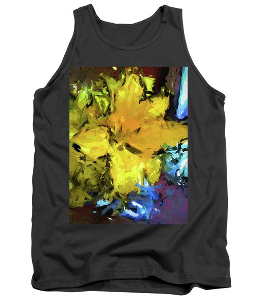 Yellow Flower And The Eggplant Floor Tank Top