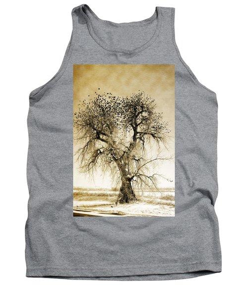 Bird Tree Fine Art  Mono Tone And Textured Tank Top