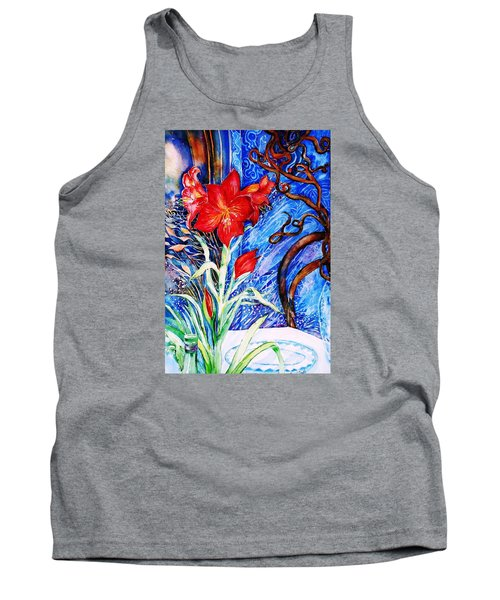 Red Amaryllis  Tank Top by Trudi Doyle