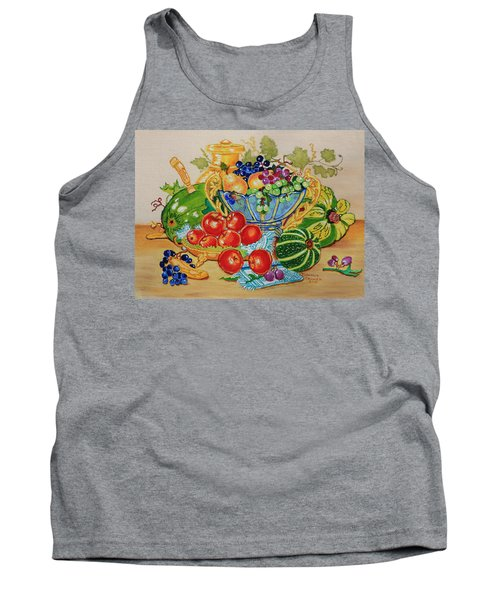 Red Apples And  Grapes Oil Painting Tank Top by Johanna Bruwer
